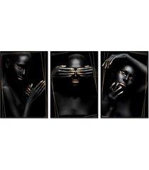 kit 3 quadro  oppen house coleã§ã£o  noir altin moldura preta decoraã§ã£o - multicolorido - dafiti