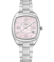 f221037500 momento pink mother-of-pearl satin-brushed stainless steel link bracelet watch