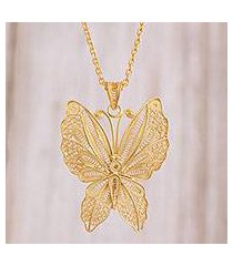 gold plated sterling silver filigree pendant necklace, 'gold butterfly' (peru)