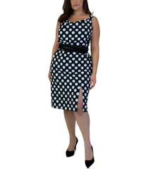 maree pour toi plus size polka-dot sheath dress