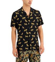 inc international concepts men's jungle cat-print camp shirt, created for macy's