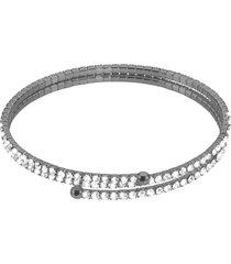 bracciale bangle doppio in metallo rutenio e cristalli per donna