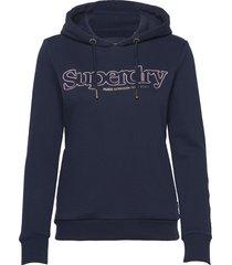 applique serif hood ub hoodie trui blauw superdry