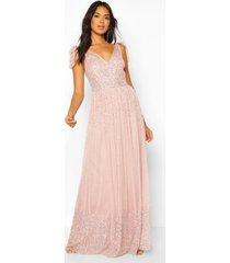 jurk voor bruidsmeisje met brede strik, lichtroze