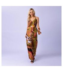 macacão mercatto longo estampado burle feminino