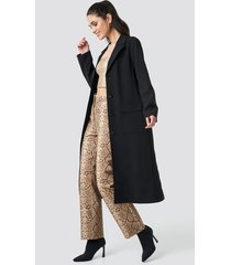 anna nooshin x na-kd front button ankle coat - black