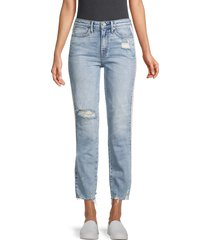 true religion women's high-rise ripped crop straight jeans - throwback - size 30 (8-10)