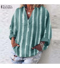 zanzea raya de las mujeres de gran tamaño de largo tapas de la camisa informal étnico tamaño de la vendimia la blusa plus -verde