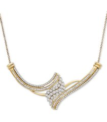 diamond cluster adjustable pendant necklace (1 ct. t.w.) in 10k gold