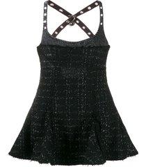 diesel tweed flared mini dress - black