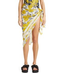 women's ganni floral print organic cotton cover-up pareo, size one size - yellow