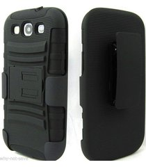 black rugged heavy duty case with belt clip for samsung galaxy s 3 iii i9300 new
