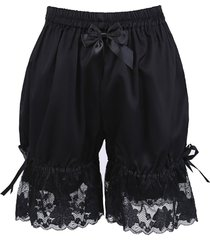 black cotton lace ribbon gothic victorian pumpkin pants bloomers shorts
