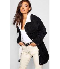 oversized corduroy trucker jas met nepwollen voering, zwart