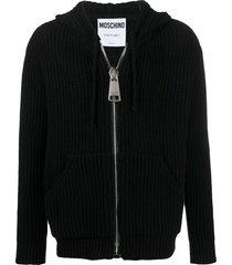 moschino chunky knit hoodie - black