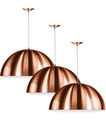 kit 3 lustres pendente meia lua 40cm alumãnio new cobre - cobre - dafiti