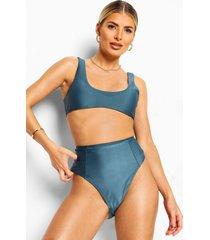 essentials bikini crop top met lage ronde hals, petrol