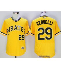 pittsburgh pirates 29 francisco cervelli yellow pullover flexbase baseball jerse