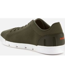 swims men's breeze tennis knit trainers - olive/white - uk 8