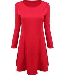 otoño sólido cuello redondo manga larga vestido largo swing vestido mujer