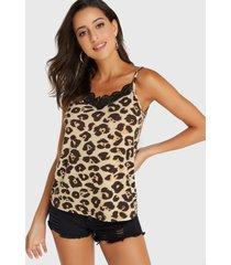 camiseta con cuello en v y encaje de leopardo café de yoins