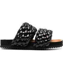 paul warmer braided-strap sandals - black