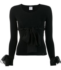 chanel pre-owned 2004's decorative bows blouse - black