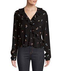 simone floral wrap blouse