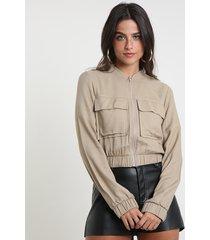 jaqueta bomber feminina cropped com bolsos caramelo
