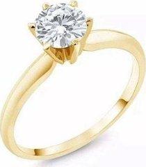 anel lys lazuli solitário clássico zircônia semijoia banhada ouro 18k feminino - feminino