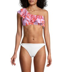 bcbgmaxazria women's one-shoulder tropical-print bikini top - pink - size 12