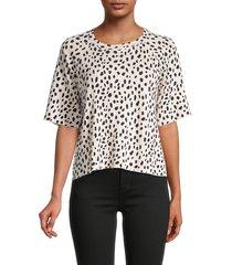 monrow women's cheetah-print cut-off sweatshirt - bone - size xs