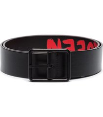 alexander mcqueen reversible leather logo belt - black