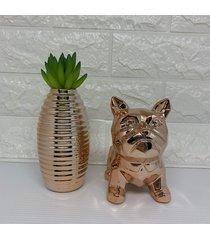 conjunto decorativo de buldogue e vaso rose gold