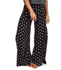 women's billabong split spirit floral print wide leg pants, size small - black