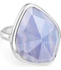 sterling silver siren nugget cocktail ring blue lace agate