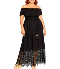 plus size women's city chic off the shoulder maxi dress, size large - black