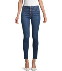 jonathan simkhai women's rhys mid-rise exposed button skinny jeans - pacific - size 24 (0)