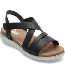 v5073-00 shoes summer shoes flat sandals svart rieker