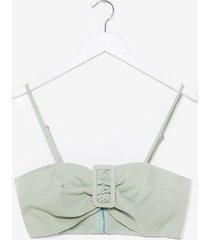 womens buckle it up buttercup linen bra top - sage