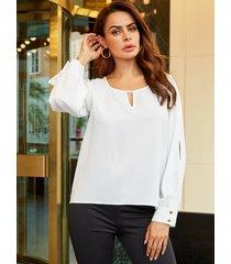 yoins blanco recortado diseño blusa de gasa