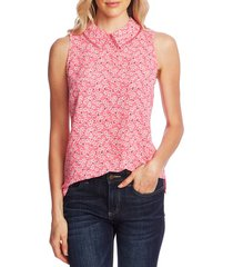 women's cece sakura delight print peter pan collar sleeveless blouse, size x-large - pink