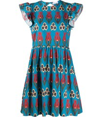 redvalentino tulip mini dress - blue