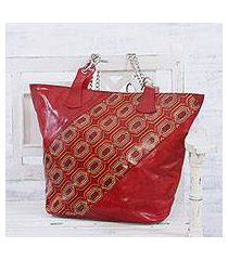 batik leather tote, 'retro radiance' (india)