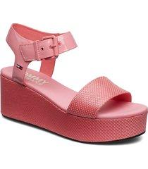 denia 2c sandalette med klack espadrilles rosa tommy hilfiger