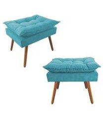 kit 02 puffs decorativos opalla pés palito suede azul turquesa - ds móveis