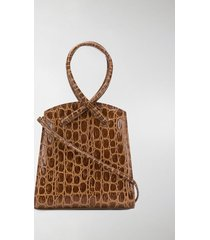 little liffner twisted crocodile-effect tote