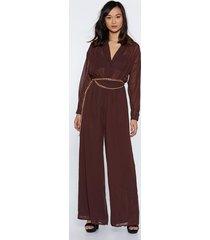 womens chiffon your shoulder wide-leg jumpsuit - chocolate