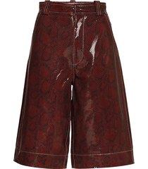 snake foil leather shorts leather shorts röd ganni