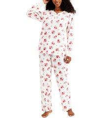 charter club petite thermal fleece printed pajama set, created for macy's